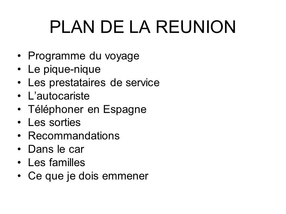 PLAN DE LA REUNION Programme du voyage Le pique-nique