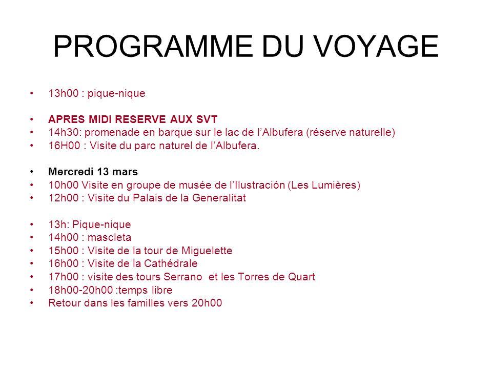 PROGRAMME DU VOYAGE 13h00 : pique-nique APRES MIDI RESERVE AUX SVT