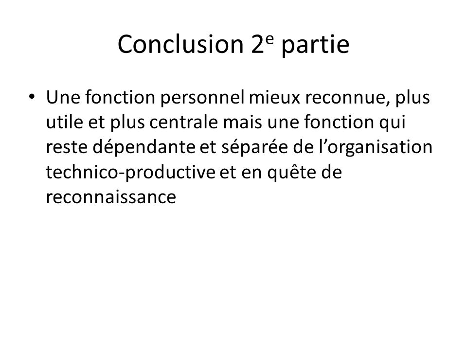 Conclusion 2e partie