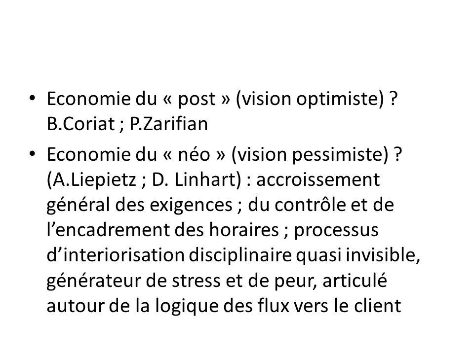 Economie du « post » (vision optimiste) B.Coriat ; P.Zarifian