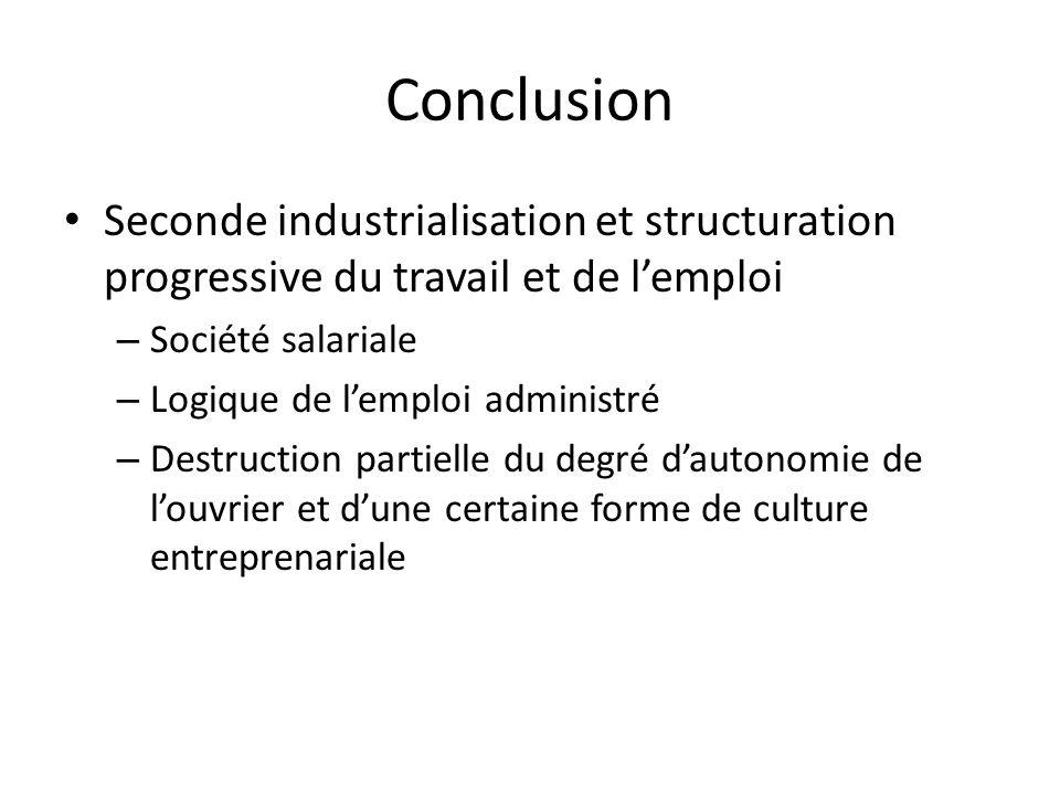Conclusion Seconde industrialisation et structuration progressive du travail et de l'emploi. Société salariale.