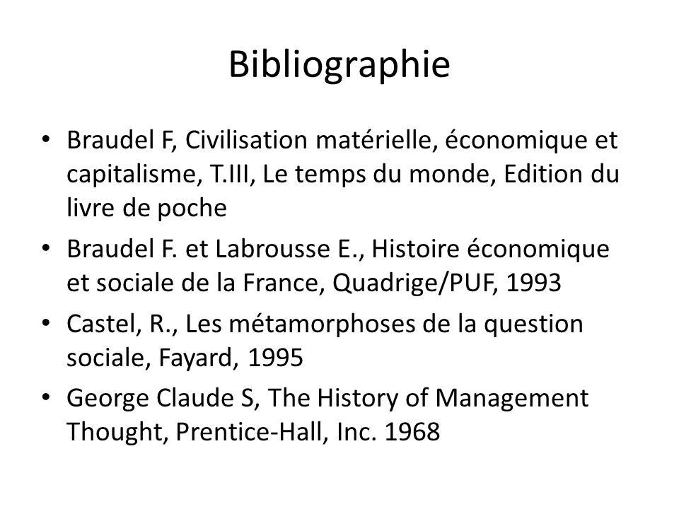 Bibliographie Braudel F, Civilisation matérielle, économique et capitalisme, T.III, Le temps du monde, Edition du livre de poche.