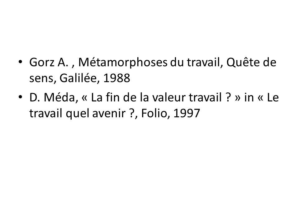 Gorz A. , Métamorphoses du travail, Quête de sens, Galilée, 1988