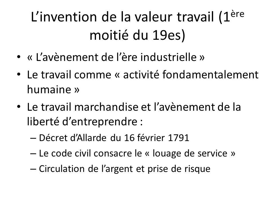 L'invention de la valeur travail (1ère moitié du 19es)
