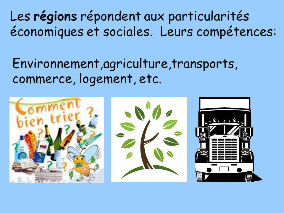 Les régions répondent aux particularités économiques et sociales