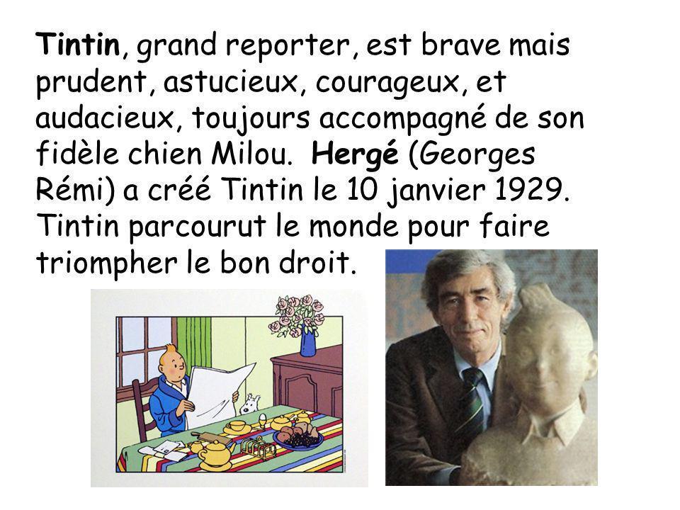 Tintin, grand reporter, est brave mais prudent, astucieux, courageux, et audacieux, toujours accompagné de son fidèle chien Milou.