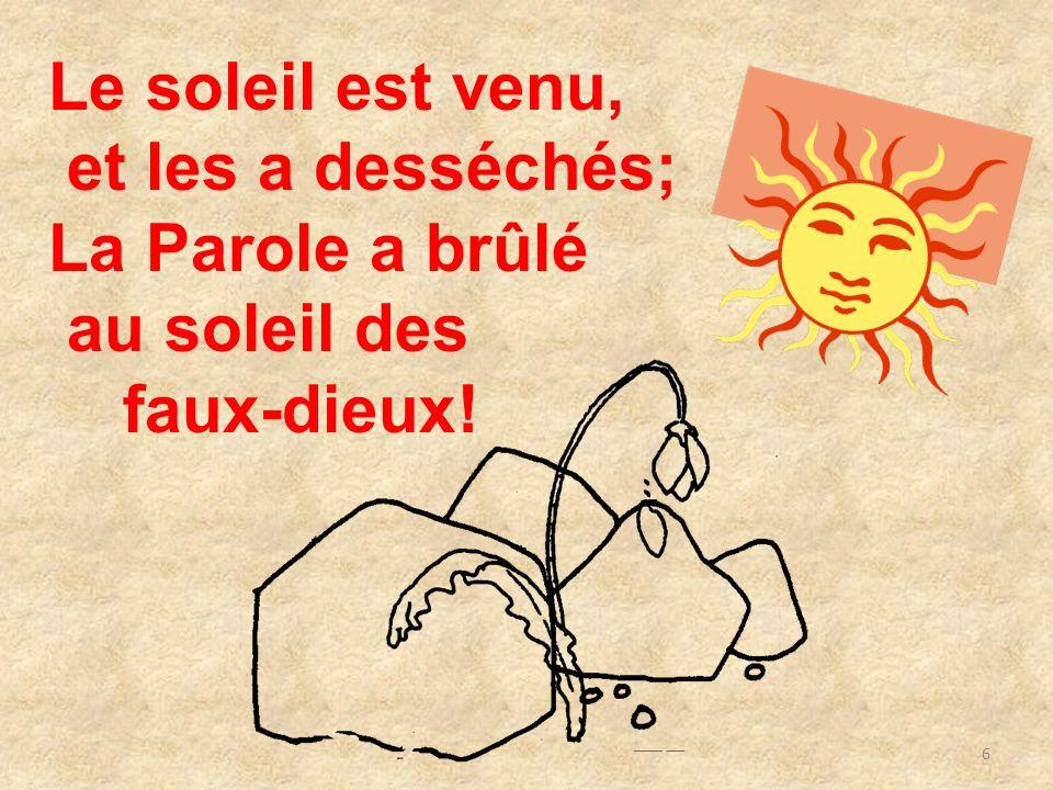 Le soleil est venu, et les a desséchés; La Parole a brûlé au soleil des faux-dieux!