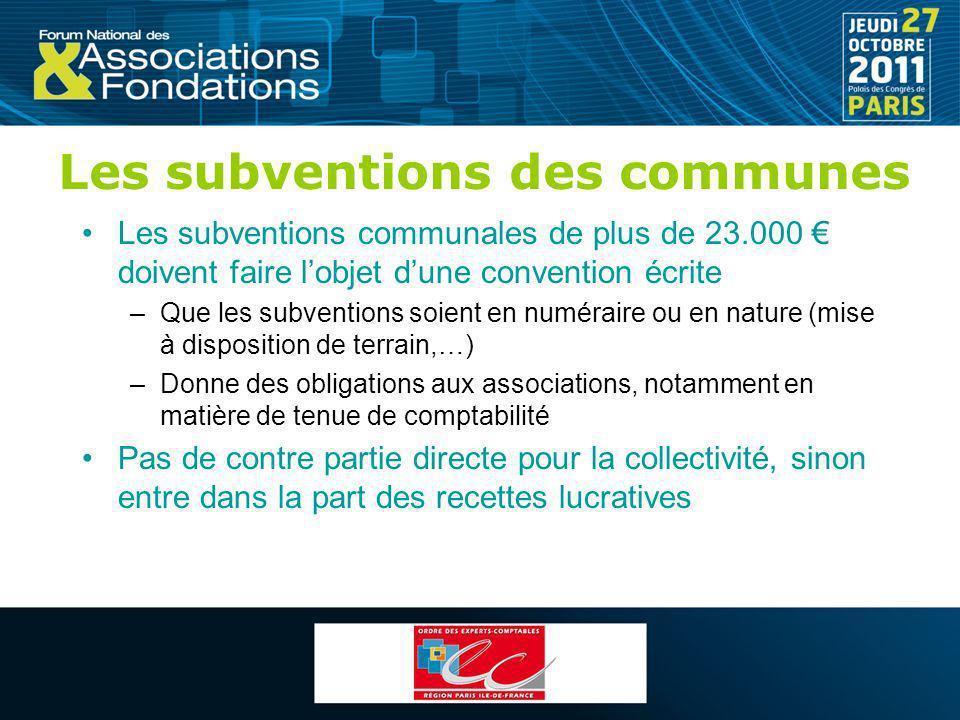 Les subventions des communes