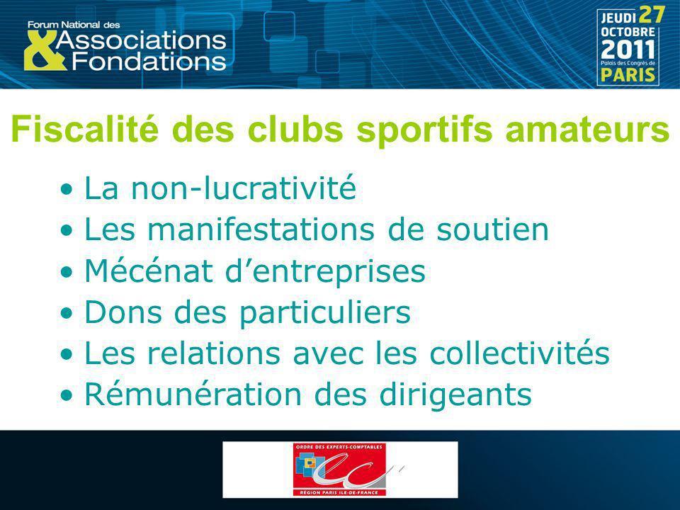 Fiscalité des clubs sportifs amateurs
