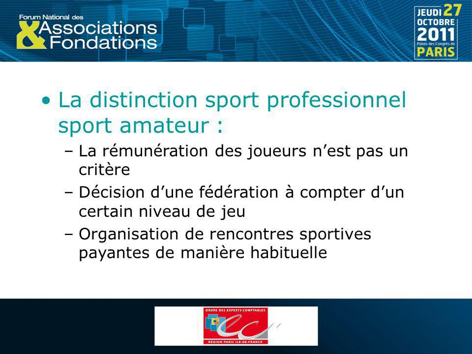 La distinction sport professionnel sport amateur :