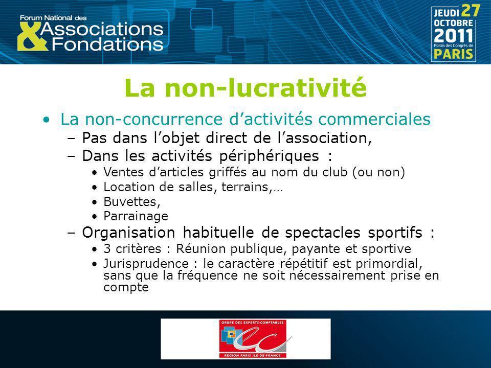 La non-lucrativité La non-concurrence d'activités commerciales