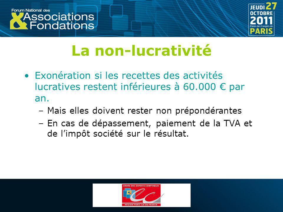 La non-lucrativité Exonération si les recettes des activités lucratives restent inférieures à 60.000 € par an.