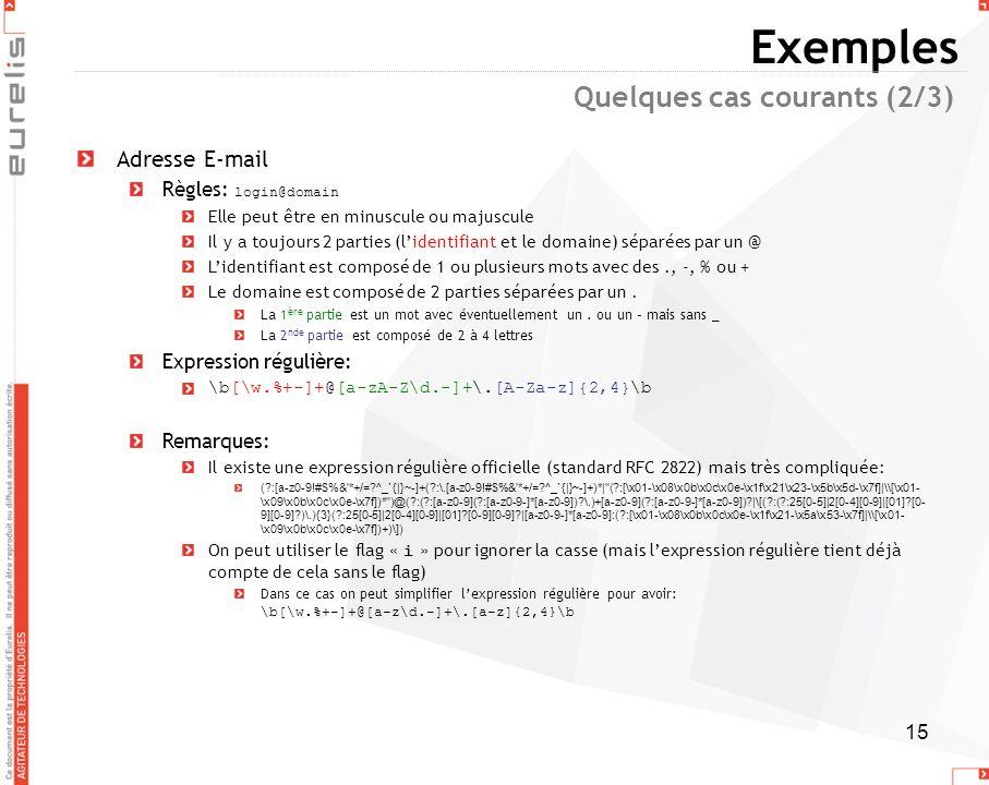 Exemples Quelques cas courants (2/3) Adresse E-mail