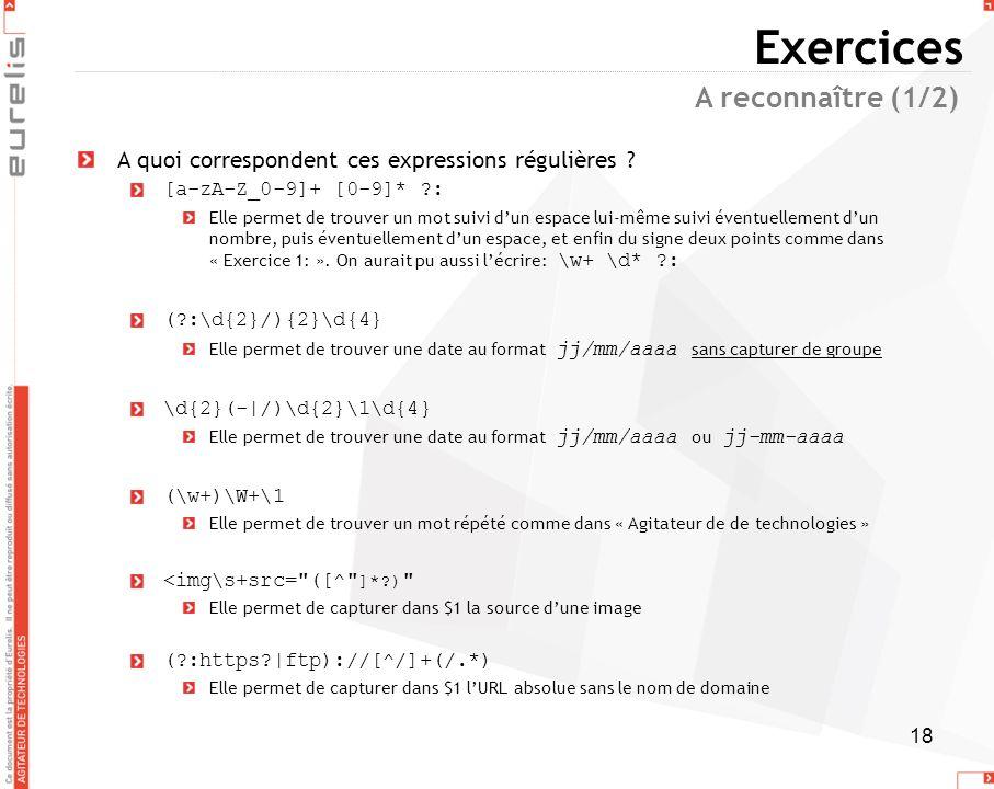 Exercices A reconnaître (1/2)