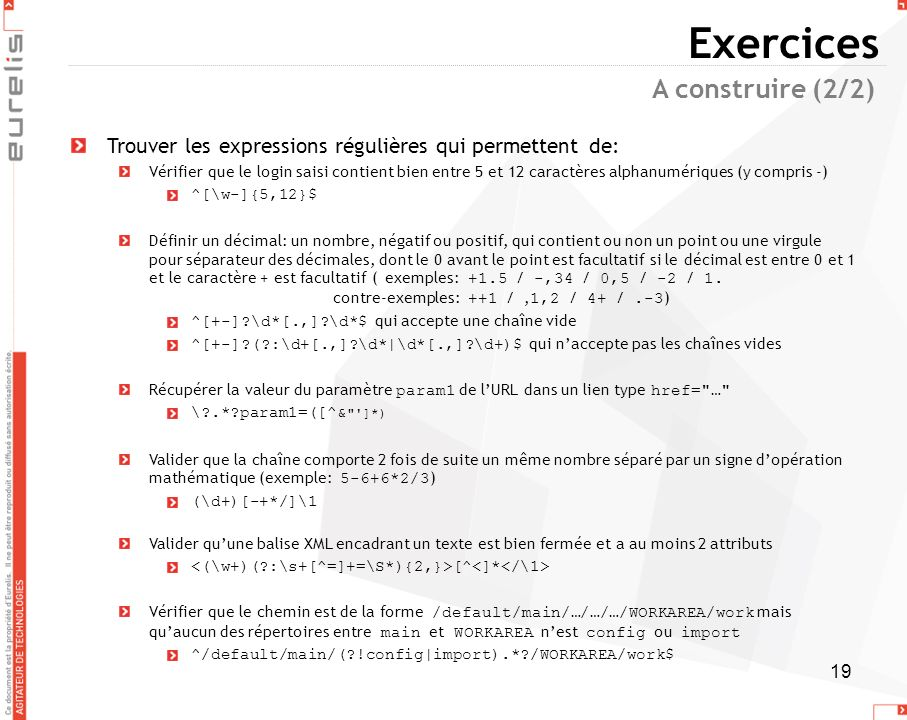 Exercices A construire (2/2)