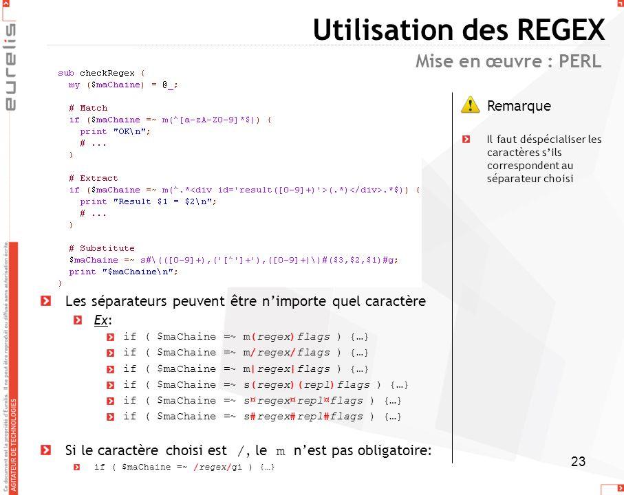 Utilisation des REGEX Mise en œuvre : PERL Remarque