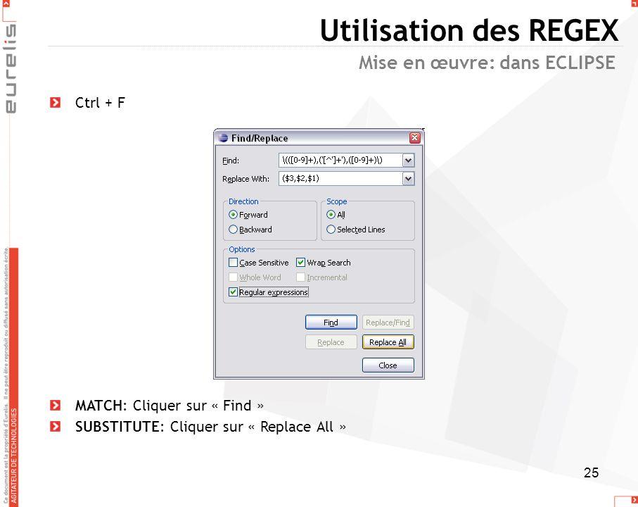 Utilisation des REGEX Mise en œuvre: dans ECLIPSE Ctrl + F