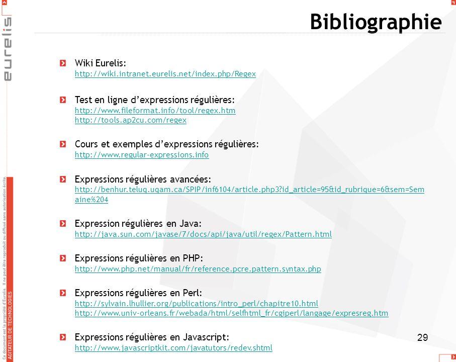 BibliographieWiki Eurelis: http://wiki.intranet.eurelis.net/index.php/Regex.