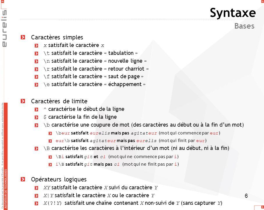 Syntaxe Bases Caractères simples Caractères de limite