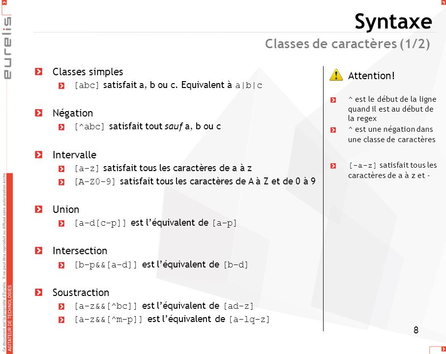 Syntaxe Classes de caractères (1/2) Classes simples Attention!