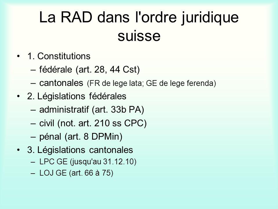 La RAD dans l ordre juridique suisse