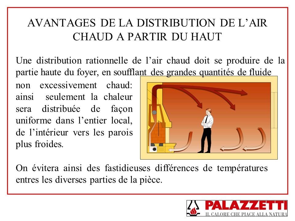 AVANTAGES DE LA DISTRIBUTION DE L'AIR CHAUD A PARTIR DU HAUT