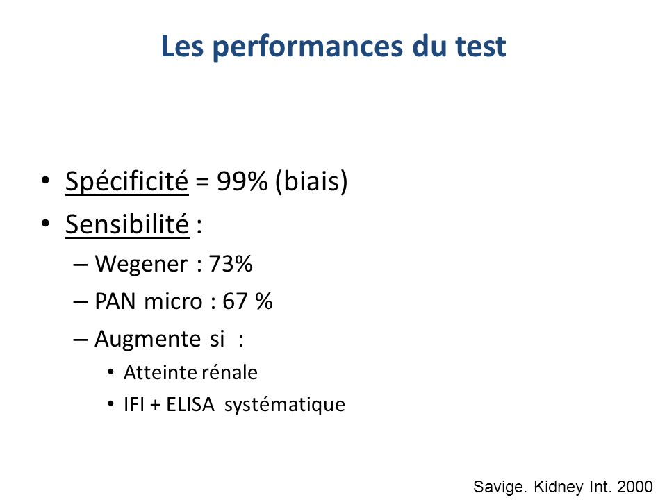 Les performances du test