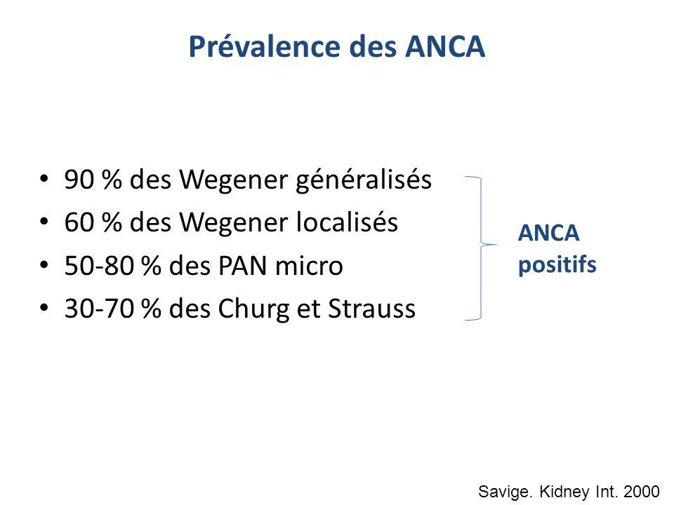 Prévalence des ANCA 90 % des Wegener généralisés