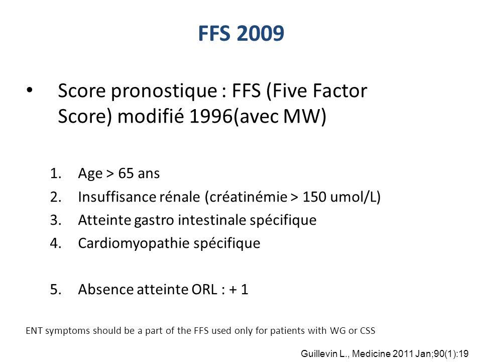 FFS 2009 Score pronostique : FFS (Five Factor Score) modifié 1996(avec MW) Age > 65 ans. Insuffisance rénale (créatinémie > 150 umol/L)