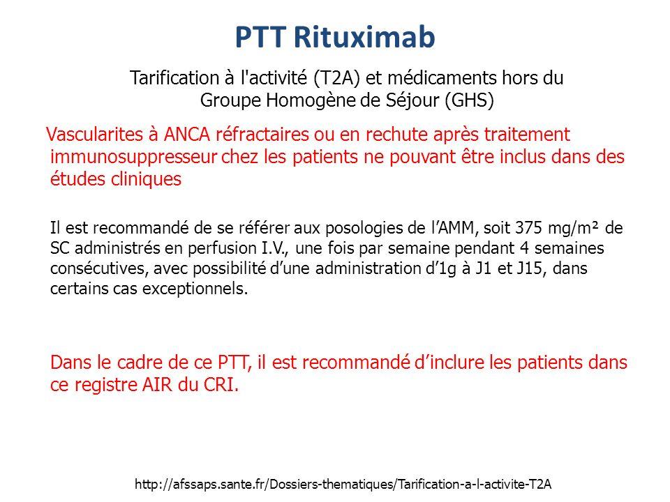 PTT Rituximab Tarification à l activité (T2A) et médicaments hors du Groupe Homogène de Séjour (GHS)