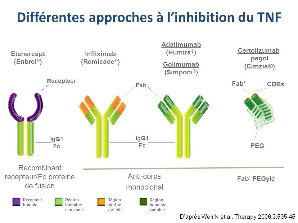 Différentes approches à l'inhibition du TNF