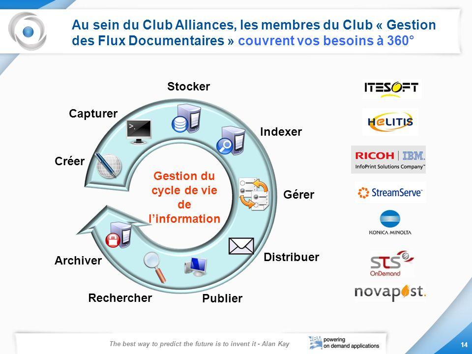 Au sein du Club Alliances, les membres du Club « Gestion des Flux Documentaires » couvrent vos besoins à 360°