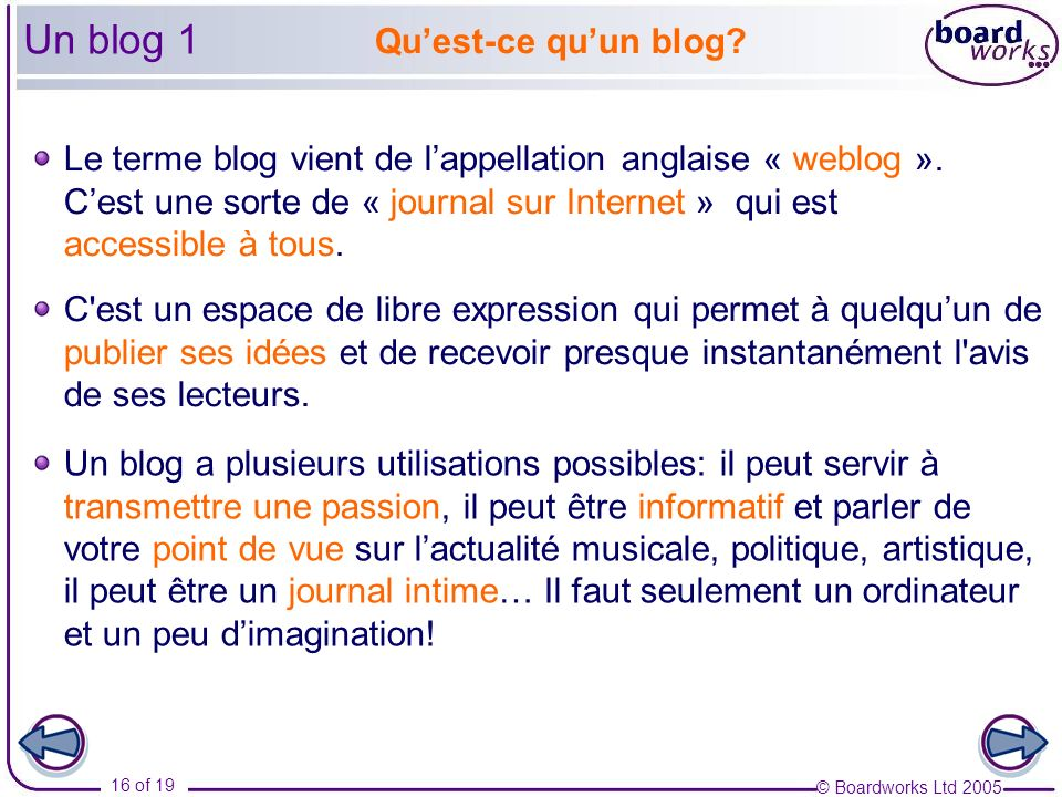 Un blog 1 Qu'est-ce qu'un blog