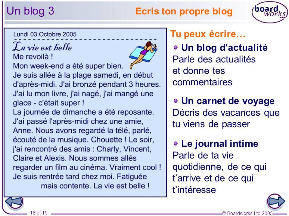 Un blog 3 Ecris ton propre blog Tu peux écrire… Un blog d actualité