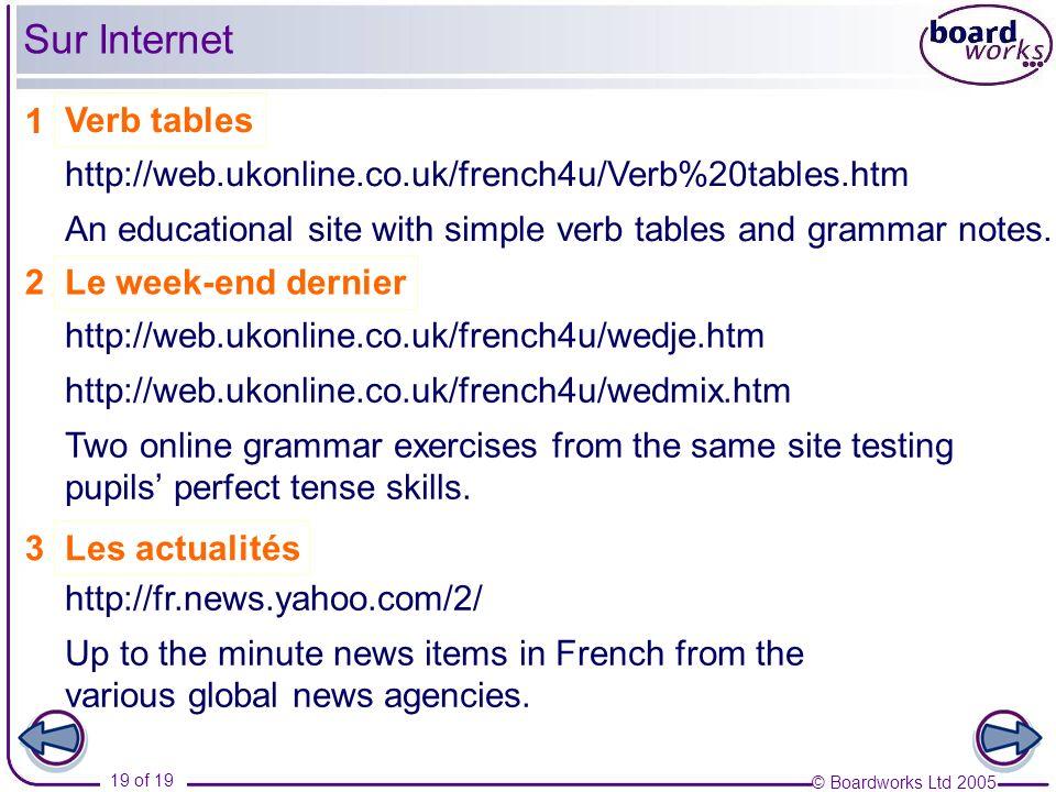 Sur Internet 1 Verb tables