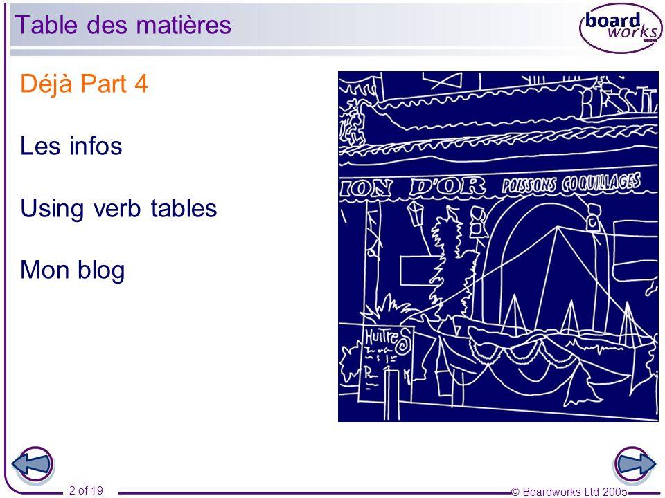 Table des matières Déjà Part 4 Les infos Using verb tables Mon blog