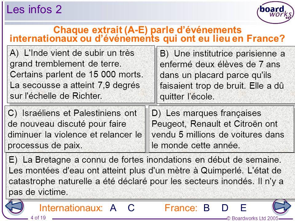 Les infos 2 Chaque extrait (A-E) parle d'événements