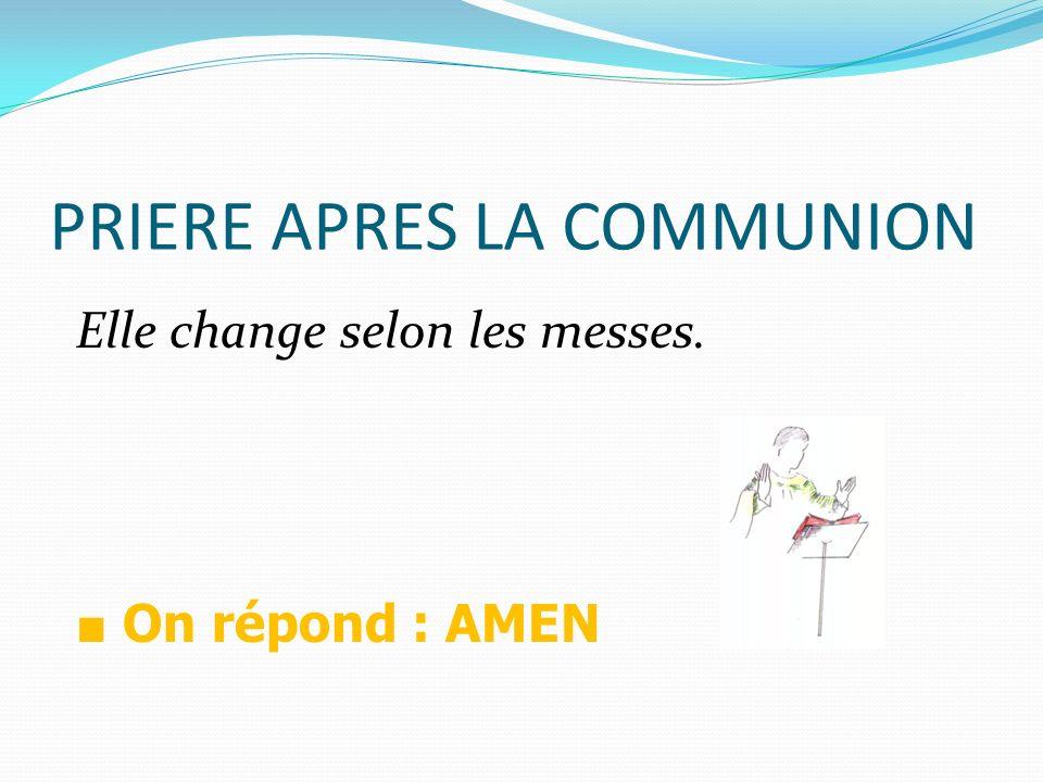 PRIERE APRES LA COMMUNION