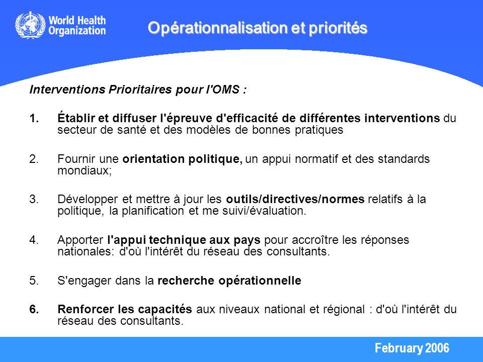 Opérationnalisation et priorités