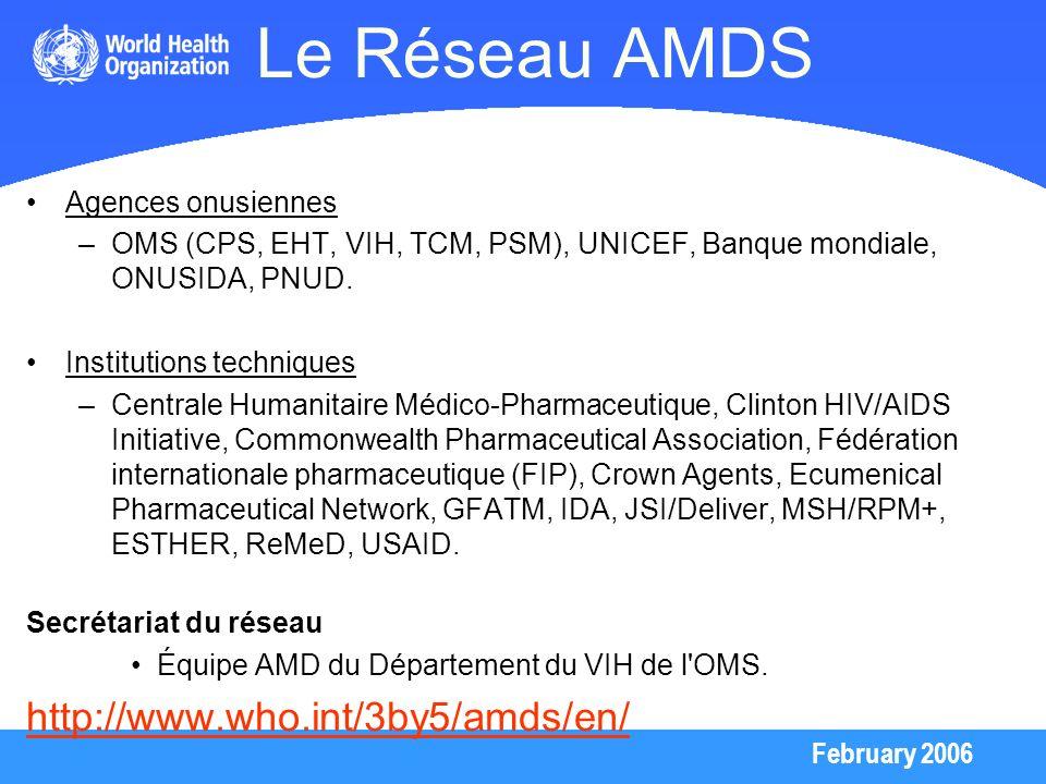 Le Réseau AMDS http://www.who.int/3by5/amds/en/ Agences onusiennes