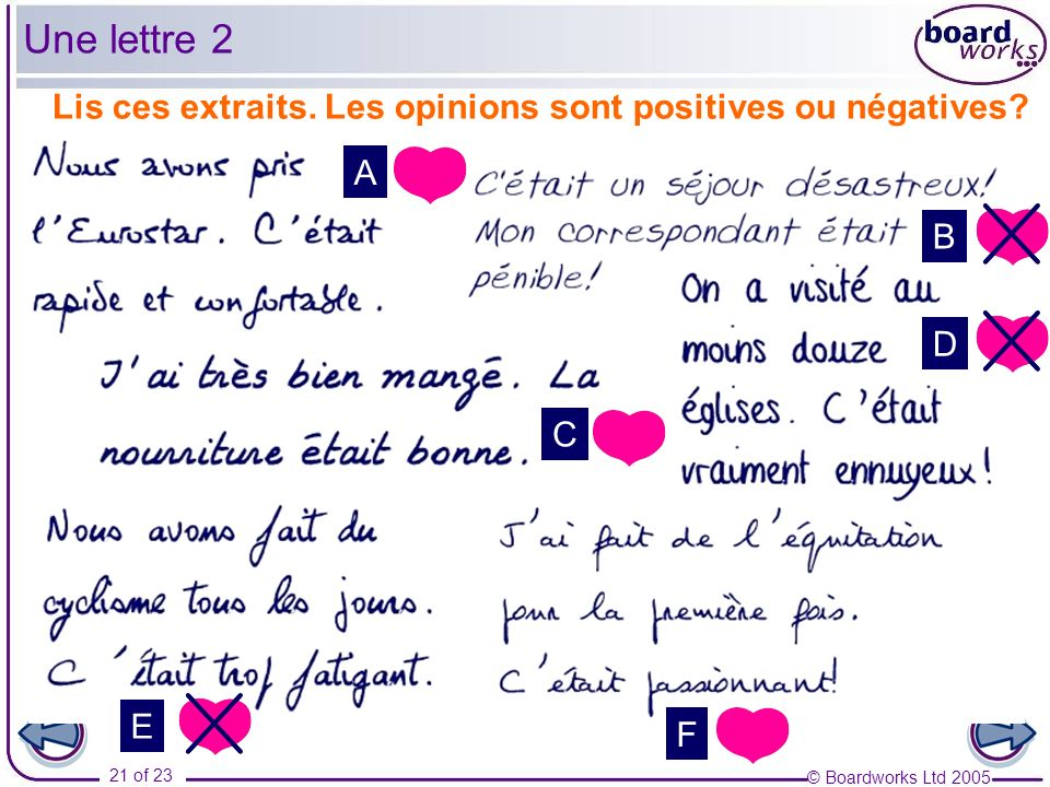 Une lettre 2 Lis ces extraits. Les opinions sont positives ou négatives A. B. D. C. Answers appear one by one on mouseclick.