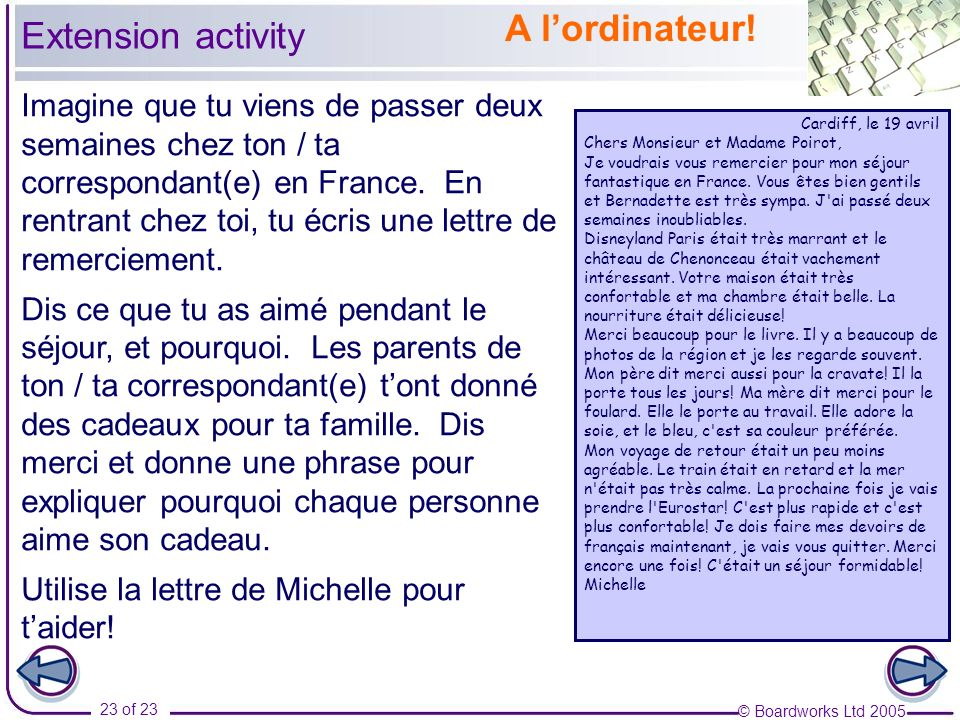 A l'ordinateur! Extension activity