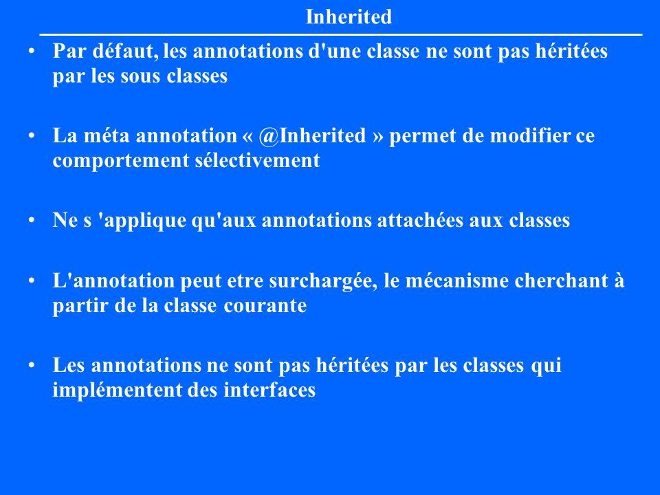 Inherited Par défaut, les annotations d une classe ne sont pas héritées par les sous classes.