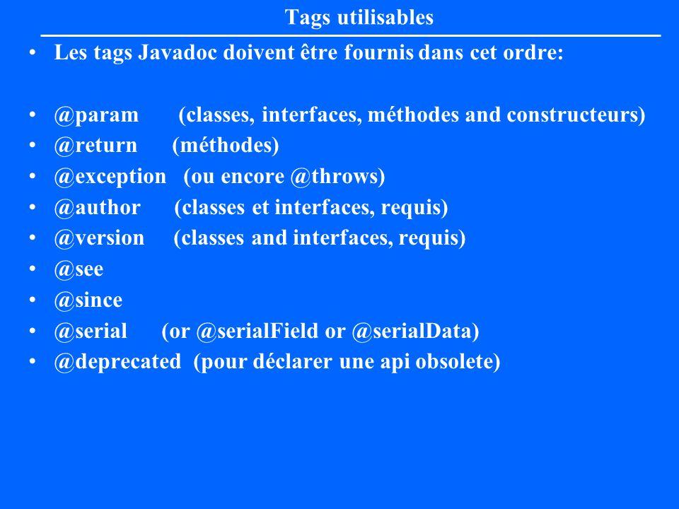 Tags utilisablesLes tags Javadoc doivent être fournis dans cet ordre: @param (classes, interfaces, méthodes and constructeurs)