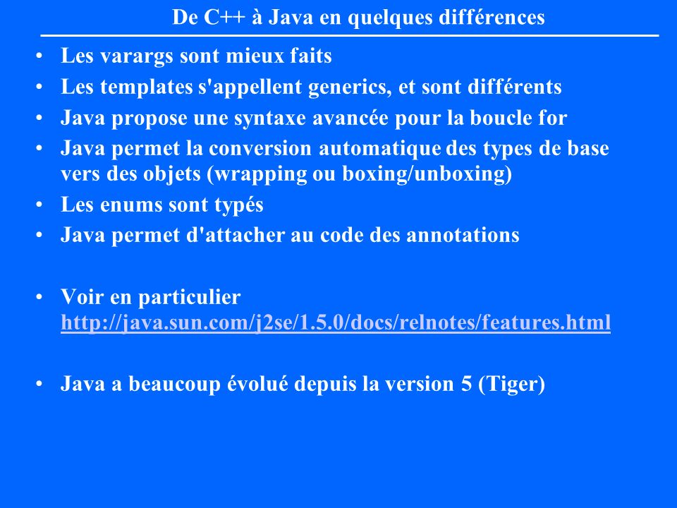 De C++ à Java en quelques différences