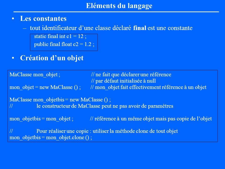 Eléments du langage Les constantes Création d'un objet