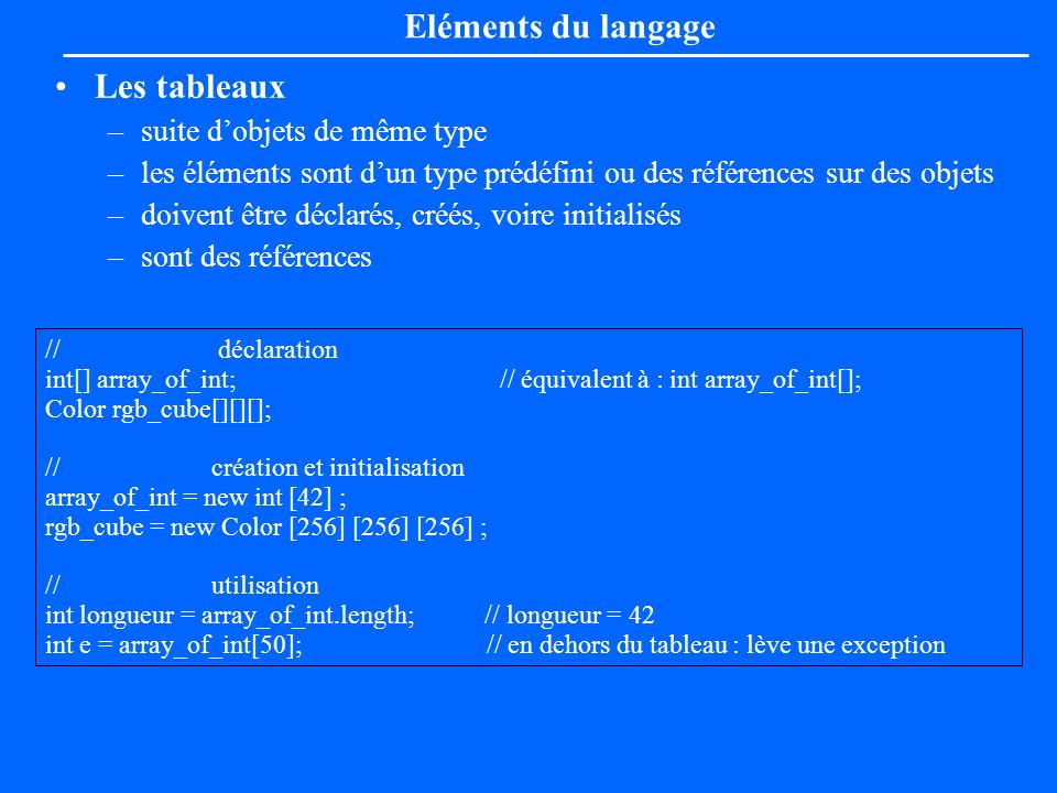 Eléments du langage Les tableaux suite d'objets de même type