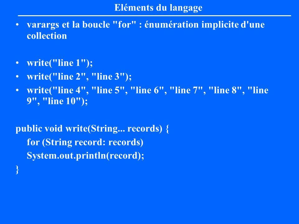 Eléments du langagevarargs et la boucle for : énumération implicite d une collection. write( line 1 );