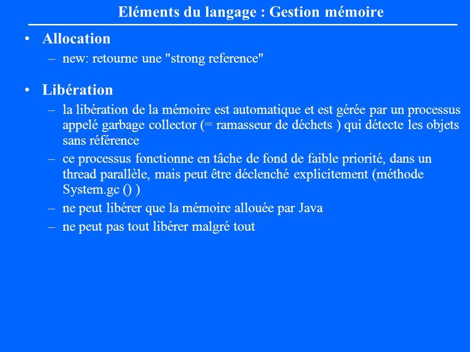Eléments du langage : Gestion mémoire