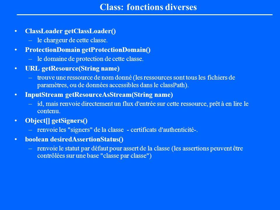 Class: fonctions diverses